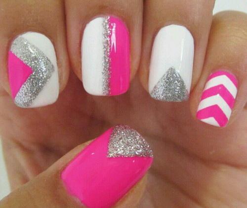 Cute-silver-glitter-nail-art