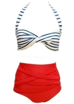 Rotita Stripe Print White and Red Halter Bikini $16.07. rotita.com. Photo via rotita.com